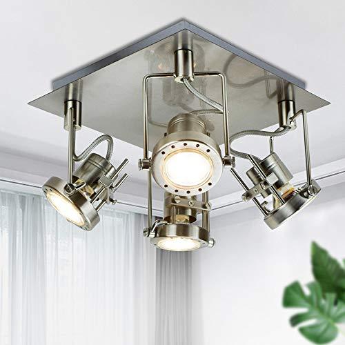 Depuley - 4 focos de techo de cocina, proyector giratorio, diseño moderno e industrial de metal para salón, pasillo, escalera, comedor, dormitorio (bombillas GU10 incluidas)