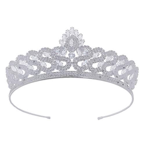 Lurrose Corona de La Boda Banda para El Cabello Nupcial Crystal Tiara...