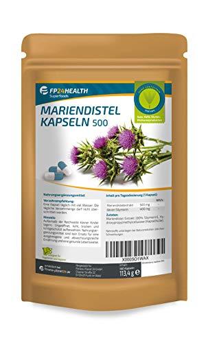 FP24 Health Mariendistel 500 mit 80{eddccb3c504220e5406562198a86bce3621aea5dff24d8c743ff320c39418fac} (400mg) Silymarin - 500mg pro Kapsel - 180 Kapseln - Hochdosiert - Top Qualität