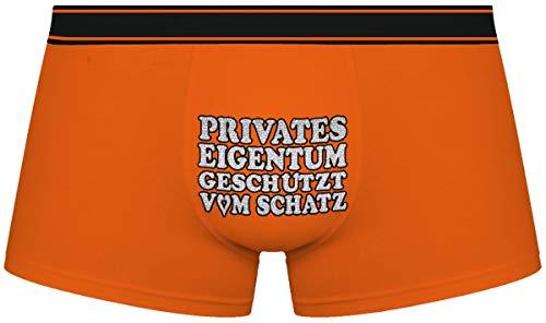 Herr Plavkin Geschenk für den Menschen   Privates Eigentum geschützt vom Schatz   Weihnachten  orange Boxershorts