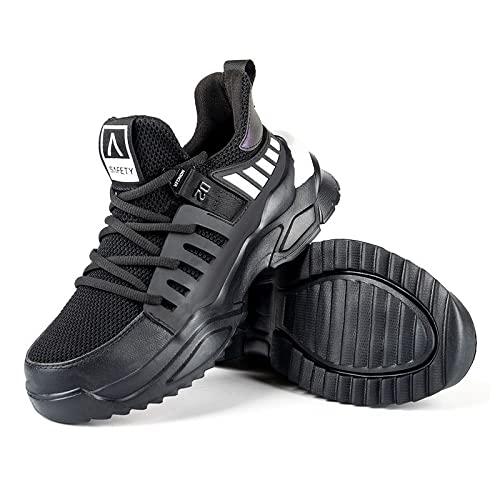 EDWRD Zapatos de Seguridad Anti Rotos Anti perforantes Puntera de Acero liviano Zapatos de Trabajo para Hombres Zapatos de protección Resistentes al Desgaste,Black-37