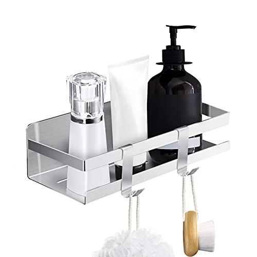 Auocett Estantería para ducha, sin agujeros, cesta de ducha, de acero inoxidable, autoadhesiva, para cocina y accesorios de baño (plateado)