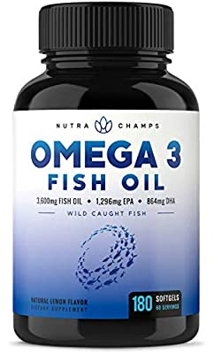 Omega 3 Fish Oil 3600mg, 180 Capsules - EPA 1296mg, DHA 864mg Fatty Acids - Omega-3 Burpless Pills - Highest Concentration Available for Joint Support, Immune, Heart Health, Brain, Eyes, Skin from NutraChamps Inc.