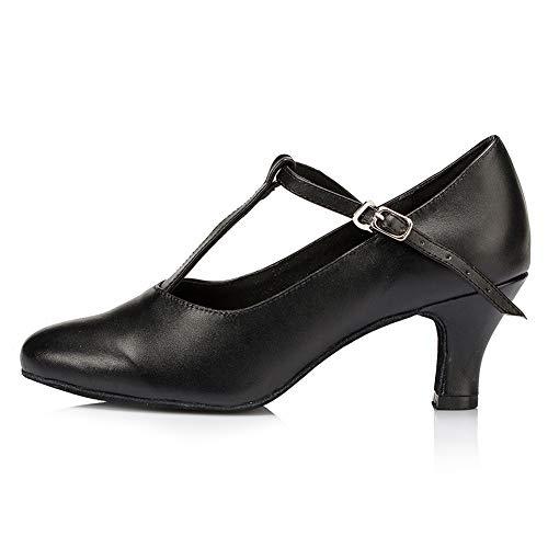 VCIXXVCE Zapatos de Personaje con Correa en T para Mujer  L041-6cm Negro EU 38