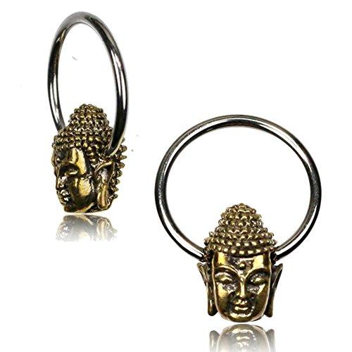 Chic-Net Universal Piercing Klemmkugel Ring silbern golden Brass Buddha Kopf Septum Helix Tragus 1,2 mm | Unisex Frauen Männer Schmuck Esoterik