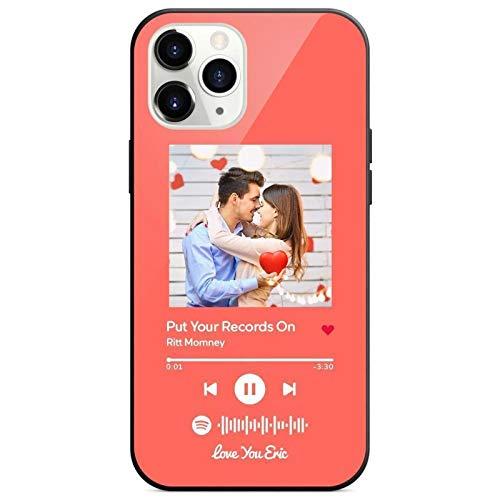 Personalisierte Handyhülle mit SpotifyCode und Foto Musik Bedrucken für iPhone 11 Rutschfest Wasserdicht Weich Schutzhülle Bild Geschenk für Frau Fre& Musikfan Weihnachten Geburtstag Valentinstag