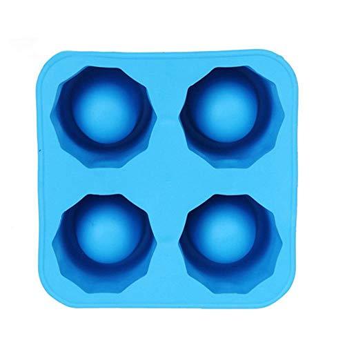 CTOBB 4 Cell Molde Diamante Bola de Hielo de Silicona de Hielo Bandeja del Cubo de Whisky Bola de Helado Fabricante de Moldes Forma de moldes de Chocolate para el Partido de Bar, Azul