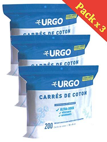 URGO carré de coton 10 x 8cm Ultra- Doux Résistants et Absorbants - Lot de 3 x 200 carrés de cotons (3)