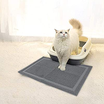 Eono by Amazon Cat Litter Mat, Durable Cat Litter Box Mat, Water & Urine-Proof Non-slip Feeding Bowl Mat, Easy Clean Pet Mat for Kitty Dog Small Animals, Grey, large, 90 * 60 cm