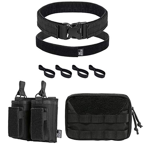 OneTigris Elastic Rifle and Pistol Mag Pouch & Tactical Gun Belt & Tactical Utility Pouch (Black)