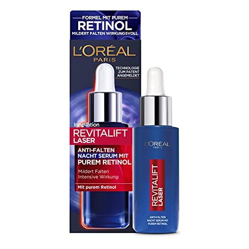 L'Oréal Paris Retinol Serum, Anti-Falten Nacht-Serum, Mit Vitamin A, pflegendem Öl & Hyaluronsäure, Revitalift Laser, 30 ml