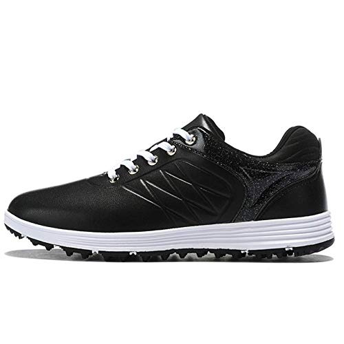 FJJLOVE Zapatillas De Golf para Hombres, Microfibra Comfort Golf Fiesta De Golf Zapatos Antideslizantes Spikeless Casual Correr Zapatillas De Golf Impermeable Transpirable Golf Botas De Golf,Negro,40
