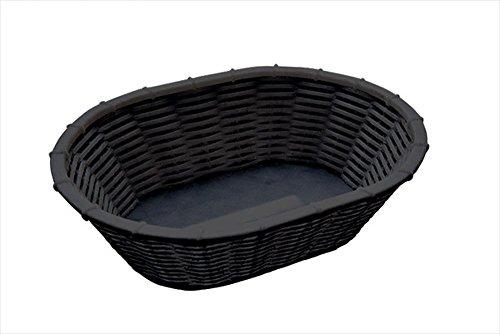 APS 40216 WICKER LOOK Schwarzer Polypropylen Korb für Brot oder Obst, Ø 23 cm