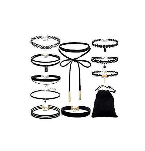Pageantry Choker Halsketten Set Velvet Halskette Tattoo Halsband Schwarz Halsband Stretch Samt Klassische Gothic Tattoo Spitze Choker (Einheits Größe, C-10PCS)
