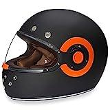 Daytona Helmets Motorcycle Full Face Helmet Retro- Dull Black W/Orange Accents 100% DOT Approved