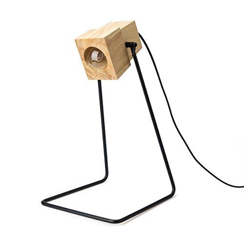 black velvet studio Lampe à Poser Robot Bois et métal, Couleur Naturel et Noir, Style Industriel, 40x23x24 cm.