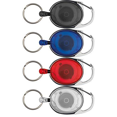 4 x sleutelhanger met karabijnhaak en uittrekbare sleutelring, 4 kleuren