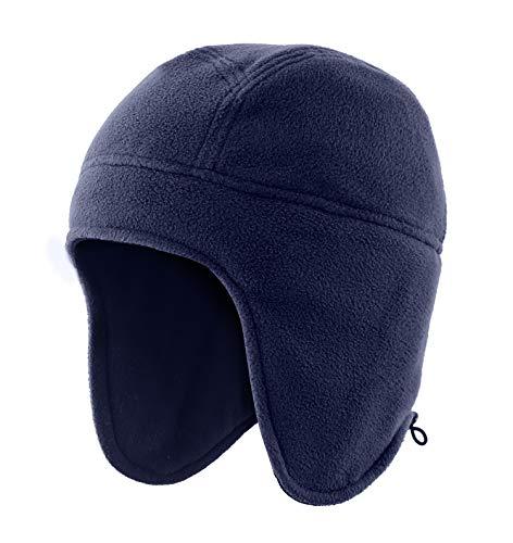 Home Prefer Winter Hats for Men Fleece Knit Warm Earflap Beanie for Winter Sports Snow Ski Caps Navy Blue