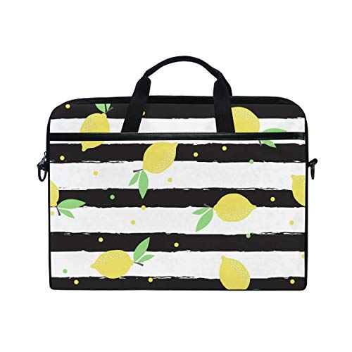 KUWT Laptop Case Polka Dot Stripe Lemon Laptop Shoulder Messenger Bag Case Sleeve Crossbody Briefcase with Strap Handle for Notebook Computer