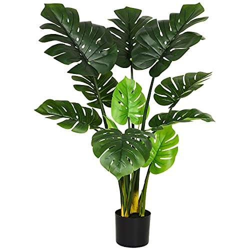 Artiflr 47' Artificial Monstera Deliciosa Plant Fake Tropical Palm Tree Perfect Faux Swiss Cheese Plant for Home Garden Office Store Decoration (1)