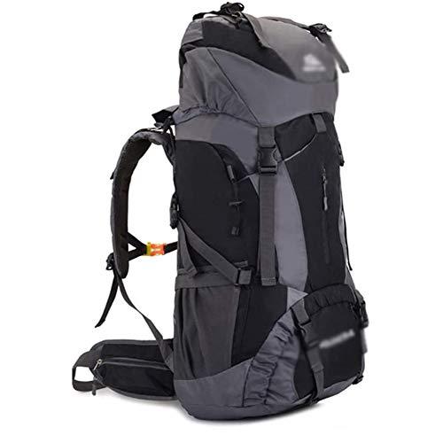 LIYT Sacs De Trekking 60L Travel Backpack en Nylon Sacs À Dos De Randonnée Étanche pour Femme Homme Alpinisme Camping Randonnée Sport Esclade Voyage,Gris