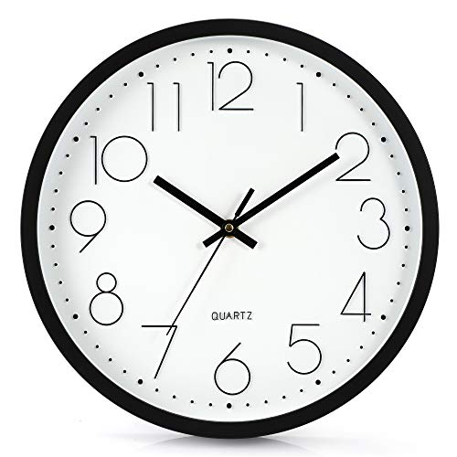 LENRUS 12 Zoll 30cm Modern Quartz Lautlos Wanduhr Schleichende Sekunde ohne Ticken (Schwarz)