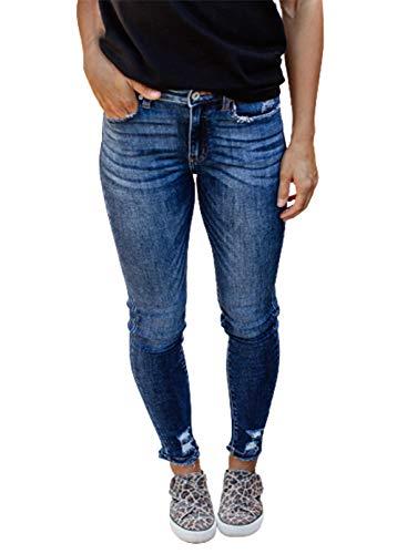 CORAFRITZ Pantalones de mezclilla ajustados de color sólido para mujer, cintura alta, ajustados, con bolsillo, pantalones de moda, pantalones desgastados