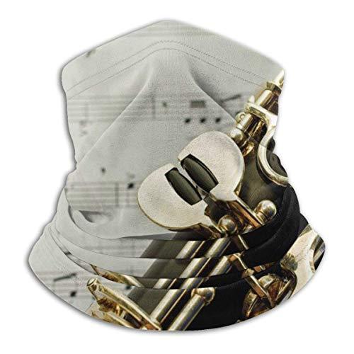 Clarinet Keys Music Neck Polaina Calentador de Cuello a Prueba de Viento Calentador UV Face Balaclava Bufanda para Deportes al Aire Libre Negro