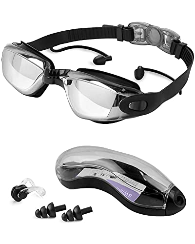 Swimming Goggles, Anti Fog Swim Goggles Adults UV Protection Swimming Goggles Adults No Leaking Swim Glasses for Men and Women