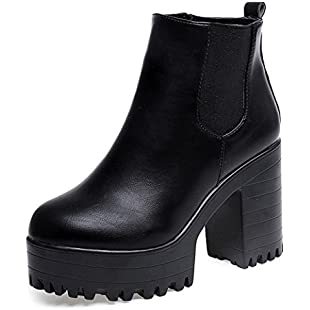 Hot Sale!Women Boots,FeiXiang♈ Women's Autumn Winter Boots Square Heel Platforms Leather Thigh High Pump Boots Shoes (5.5UK, Black)