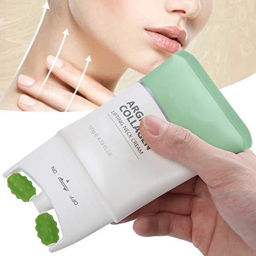 Crema reafirmante de cuello de doble rodillo, 120ml Crema de masaje antiarrugas reafirmante de colágeno y arginina, Reduce las arrugas del cuello, Crema de reparación de masaje en forma de V