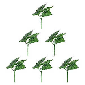 YARDWE 6pcs Artificial Leaves Begonia Silk Greenery Fake Rose Flower Leaves Tropical Leaves Bonsai Decorations for DIY Wedding Bouquets Baby Shower Centerpieces Green
