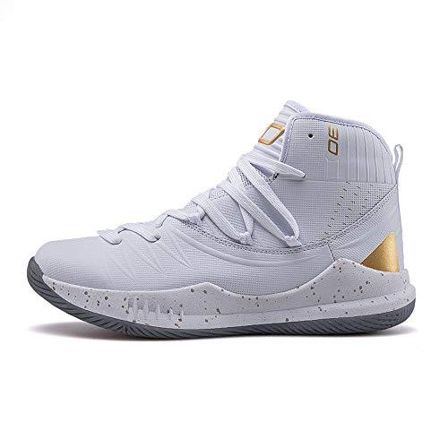 SMGPY Zapatos De Baloncesto De Los Pares De Alta Cut Curry Botas, Zapatos Respirables del Blanco Casual Male, Estudiantes De Deportes Zapatos De Los Hombres,Platinum,41