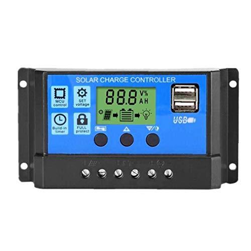 Solar Laadregelaar Intelligent Charge Regulator met USB-12V / 24V voor bescherming Zonnepaneel Battery Lamp Overload (30A, Blauw)