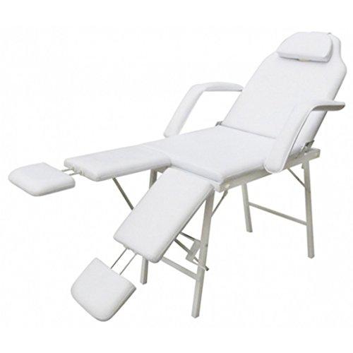 Anself Kosmetikstuhl Kosmetikliege Massageliege Behandlungsliege mit Verstellbaren Beinstützen Weiß