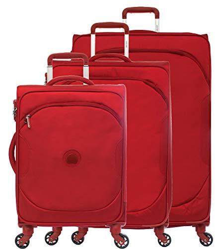 Delsey U-Lite Classic 3 - Juego de 3 maletas con 4 ruedas, rojo (Rojo) - 3248985-04