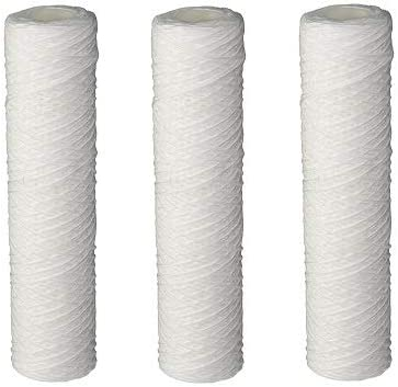 9-7//8 x 2-1//4 Pentek Four Pack - Polypropylene 155187-43 CW-MF String-Wound Polypropylene Filter Cartridge 30 Micron