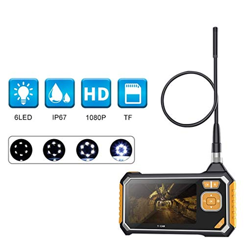 MMFXUE 8mm industrielles Endoskop, Inspektionskamera 4,3Zoll LCD, Handvideoboreskop 1080PHD, mechanisches Ausrüstungs-Rohrleitungs-Nachtsicht-Auto-Inspektions-Endoskop 10M Harter Draht