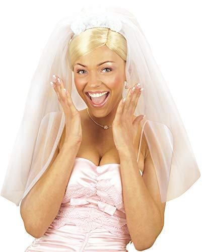 Brautschleier Rosen zum Junggesellinnenabschied - Toller Langer Schleier für die Braut zum JGA, Theater, Karneval oder Mottoparty