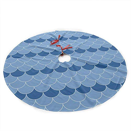 REAlCOOL Blue and White Scallop Navy Christmas Tree Skirt Xmas Tree Mat 36 Inch