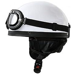 ATO-Helme Oldtimer Motorradhelm mit Brille Größe: L 59/60cm, Weiß