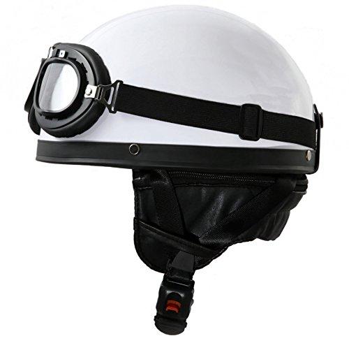 ATO Oldtimer Motorradhelm mit Fliegerbrille in Weiß Größe XL 61cm