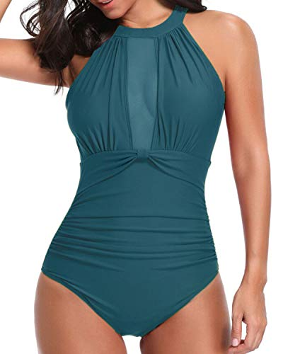 Tempt Me Women One Piece Swimsuit V Neck Mesh Ruched Swimwear Malachite Green M