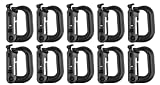 XTACER Tactical Multipurpose D-Ring Locking Hanging Hook Tactical Link Snap Keychain for Molle Webbing (Black-Button Release (10-Pack))