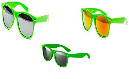 Ciffre 3 er Set Nerd Sonnenbrille Partybrille Festival Sunglass Stil Atzen Brille Grün Feuerverspiegelt D935