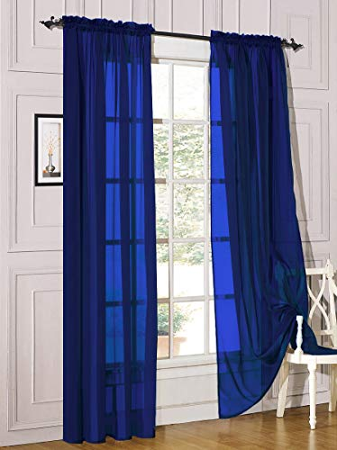 """Decotex 2 Piece Sheer Voile Light Filtering Rod Pocket Window Curtain Panel Drape Set Available in a Variety of Sizes and Colors (54"""" X 84"""", Royal Blue)"""