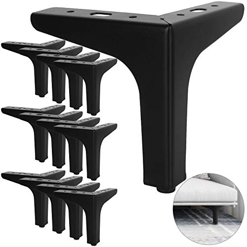 12Pack Metal Furniture Sofa Legs, 5inch Modern Style Furniture Triangle Sofa Legs Feet, Metal Cabinet Legs Replacement Black for Cabinet Cupboard Sofa Couch Chair Ottoman