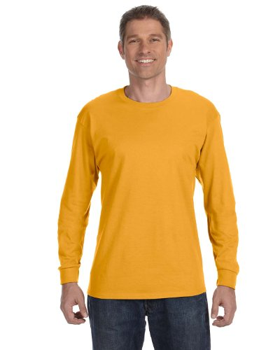 Hanes TAGLESS 6.1 Long Sleeve T-Shirt - XL - Gold