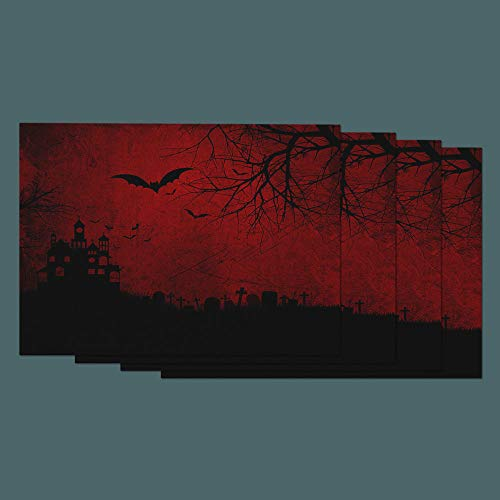 Moslion Halloween Place Mats Set of 4 Skull Spooky Bats Spider Ghost Cross Cemetery Grave Stone Castle Tree Cotton Linen Placemats 12x18 Inch for Dinner Kitchen Table Dining Room