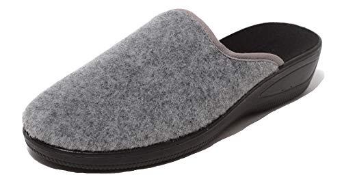 Zapato Damen Filzclogs Filz Hausschuhe Pantolette Slipper Clogs Wörishofer Keilabsatz Sohle Gr. 38-40 grau Uni (40 EU)